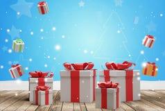 Fondo de los regalos de Navidad 3d-illustration stock de ilustración