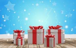 Fondo de los regalos de Navidad 3d-illustration ilustración del vector