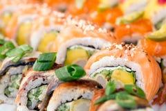 Fondo de los rollos de sushi Fotografía de archivo libre de regalías