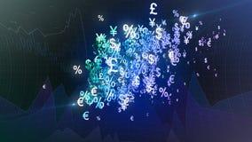 Fondo de los símbolos de dinero en circulación Fotos de archivo