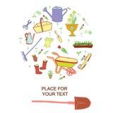 Fondo de los utensilios de jardinería Conjunto de bosquejos del vector Fotos de archivo libres de regalías