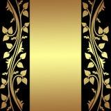 Fondo de lujo con las fronteras florales de oro. Imagenes de archivo