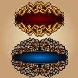 Fondo de lujo de la etiqueta de la bandera de la flor de las hojas de la uva viejo Imagen de archivo libre de regalías