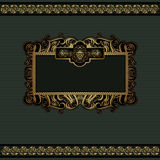 Fondo de lujo de la uva verde con la bandera del oro Foto de archivo libre de regalías