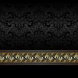Fondo de lujo del carbón de leña con la cinta de oro Imágenes de archivo libres de regalías