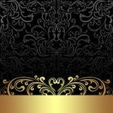 Fondo de lujo del carbón de leña con la frontera floral de oro Fotografía de archivo libre de regalías