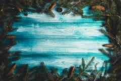 Fondo de madera azul decarated la Navidad Fotografía de archivo