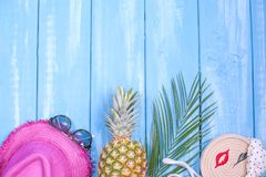 Fondo de madera azul, piña, sombrero rosado, rama de la palma, gafas de sol, lugar para el texto en el centro Accesorios para la  imagen de archivo libre de regalías