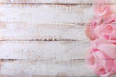 Fondo de madera blanco con la frontera color de rosa del modelo Fotografía de archivo