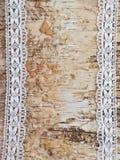 Fondo de madera con el cordón blanco Fotografía de archivo libre de regalías