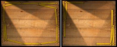 Fondo de madera con el marco de la regla Imagen de archivo