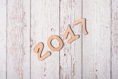 Fondo de madera con la palabra 2017 Foto de archivo