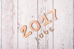 Fondo de madera con la palabra 2017 Imagen de archivo