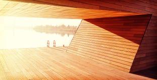Fondo de madera de la construcción, refugio por el río Fotos de archivo