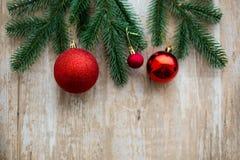 Fondo de madera de la decoración de la Navidad Fotografía de archivo libre de regalías