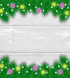 Fondo de madera de la decoración de la Navidad Fotos de archivo