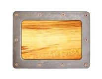 Fondo de madera de la textura con el marco de acero fotos de archivo libres de regalías