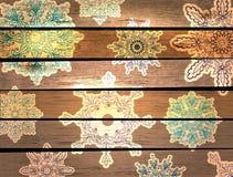 Fondo de madera del Año Nuevo con los copos de nieve hermosos Imagen de archivo