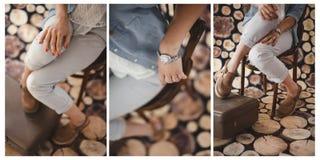 Fondo de madera del collage de la muchacha de los accesorios del vintage Fotografía de archivo libre de regalías