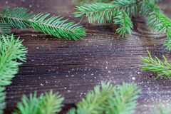 Fondo de madera del día de fiesta de la Navidad y del Año Nuevo con el copia-espacio Foto de archivo libre de regalías