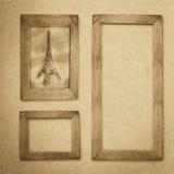Fondo de madera del marco del Grunge, textura del papel del vintage Fotos de archivo libres de regalías