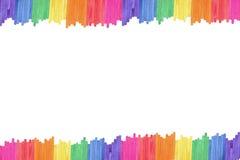 Fondo de madera del marco del palillo del helado del color Imagenes de archivo