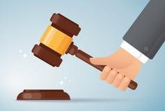 Fondo de madera del martillo del juez de la tenencia de la mano Concepto de justicia Ilustraci?n EPS10 del vector ilustración del vector