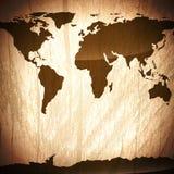 Fondo de madera del vintage con el mapa del mundo Fotos de archivo libres de regalías