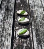 Fondo de madera del zen con las piedras grises y las hojas verdes foto de archivo