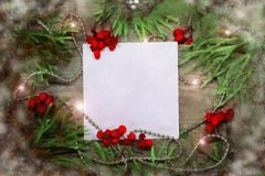 Fondo de madera de la Navidad con el árbol de abeto de la nieve Visión con el espacio de la copia Ejemplo, acuarela Foto de archivo