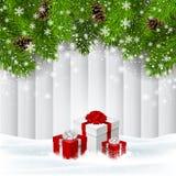 Fondo de madera de la Navidad del vector con los giftboxes rojos Imágenes de archivo libres de regalías