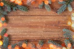 Fondo de madera natural con brunches spruce fotos de archivo