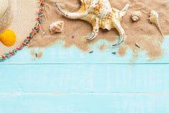 fondo de madera para el concepto de las vacaciones de verano y de las vacaciones Fotos de archivo