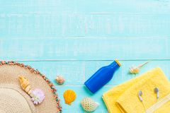 fondo de madera para el concepto de las vacaciones de verano y de las vacaciones Foto de archivo libre de regalías