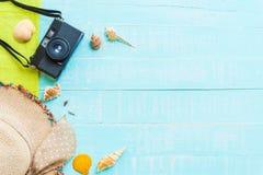 fondo de madera para el concepto de las vacaciones de verano y de las vacaciones Fotografía de archivo