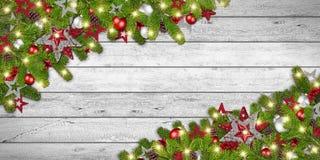 Fondo de madera rústico blanco de Navidad de la Navidad Imagen de archivo libre de regalías