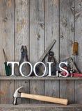 Fondo de madera rústico de las herramientas Imágenes de archivo libres de regalías