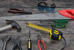 Fondo de madera rústico de las herramientas Fotografía de archivo