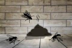 fondo de madera y tres moscas, heces del sitio 3d libre illustration