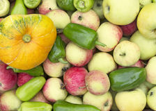 Fondo de manzanas, de calabazas y de pimientas verdes Imagen de archivo