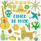 Fondo de Mayo del cinco del vector Tarjeta de felicitación mexicana de los símbolos