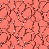 Fondo de moda del diseño con los pétalos color de rosa rosados en estilo del bosquejo stock de ilustración