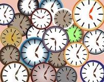 Fondo de muchas caras de reloj Vector Fotos de archivo libres de regalías