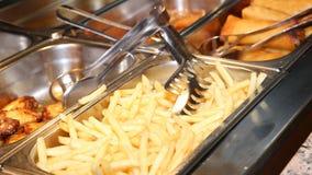 Fondo de muchas patatas fritas Fotografía de archivo