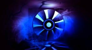 Fondo de neón abstracto, humo, rayos de la luz, garaje concreto con el sistema de ventilación imágenes 3d ilustración del vector
