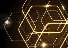 Fondo de neón anaranjado de los hexágonos del vector que brilla intensamente Foto de archivo libre de regalías