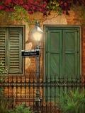 Fondo de New Orleans del ladrillo y del estuco Fotos de archivo
