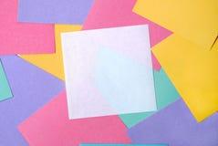 Fondo de notas en blanco coloreadas Foto de archivo libre de regalías