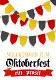Fondo de Oktoberfest para el festival de la cerveza y el funfair que viaja Cinta roja con la recepción del texto Decoración del e stock de ilustración