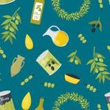Fondo de Olive Oil Elements Seamless Pattern de la historieta Vector libre illustration